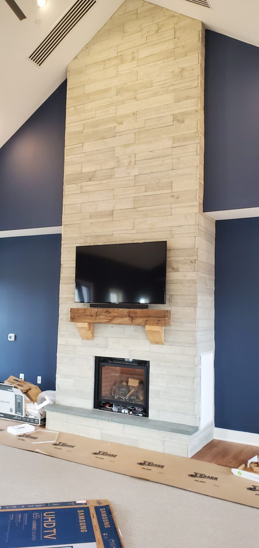 Hand Hewn Mantel with Corbels